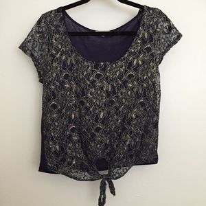 Navy Blue & Gold Lace Blouse